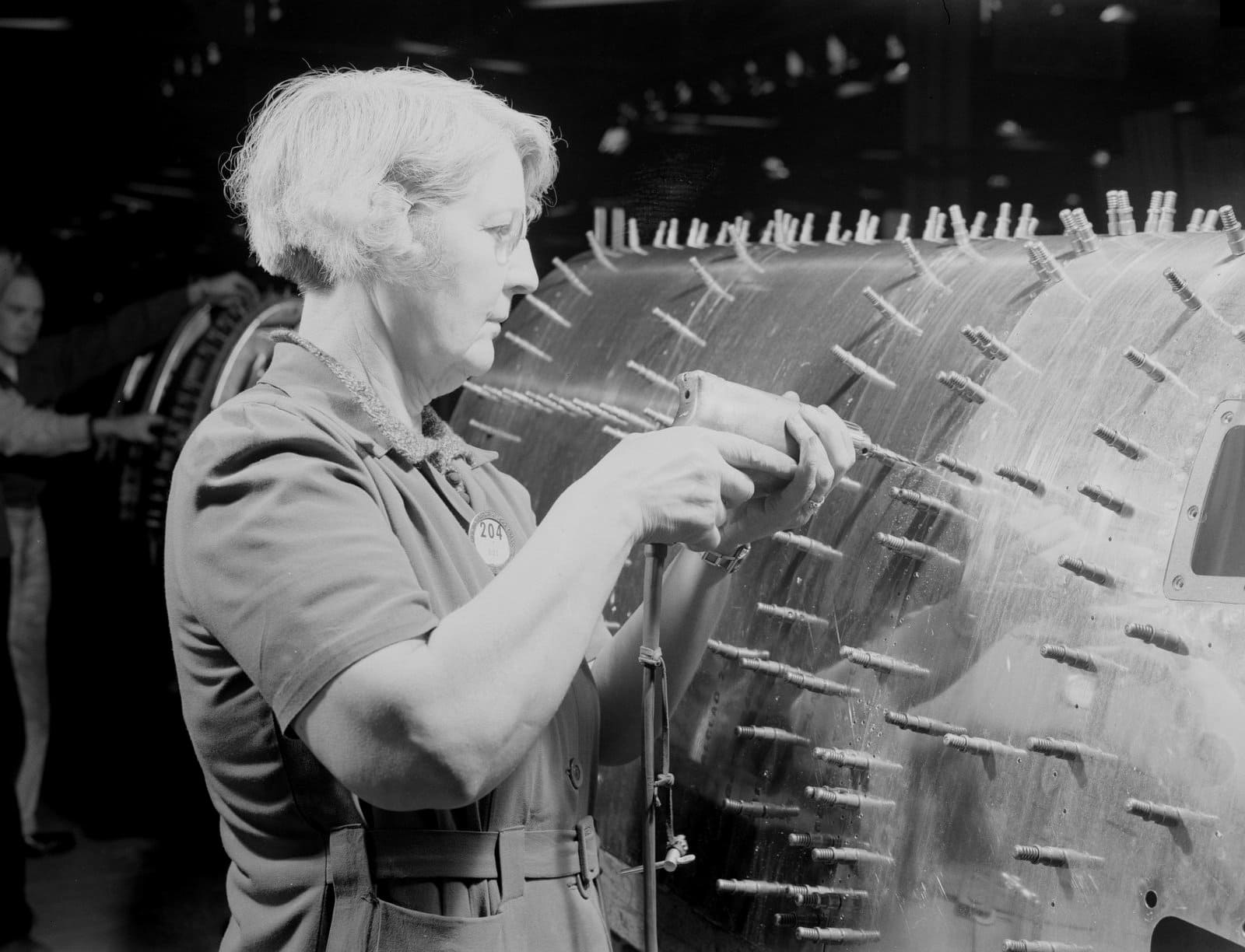 Drilling holes in a sub-assembly for a B-17F