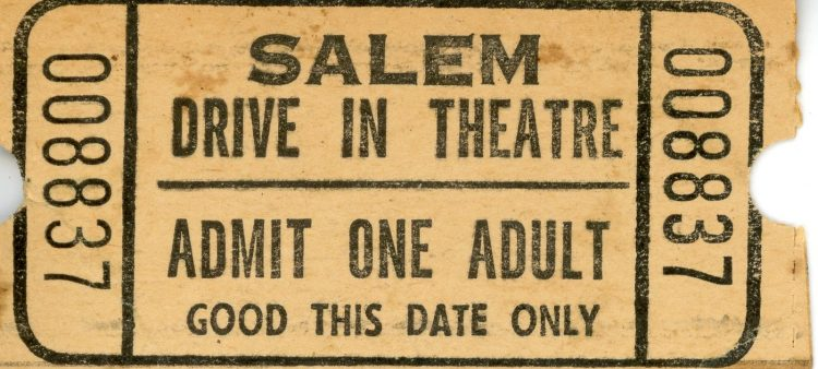 Drive-in movie theater ticket stub from Salem Ohio Public Library