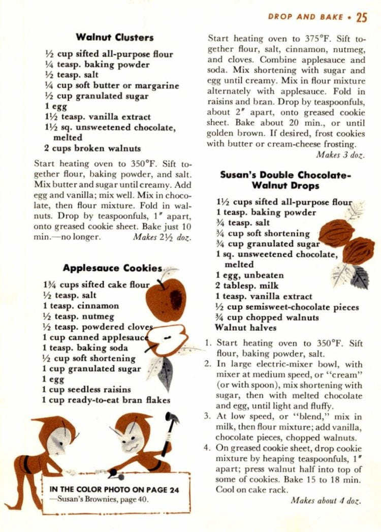 Recipes for Walnut Clusters, Applesauce Cookies, Susan's Double Chocolate-Walnut Drops