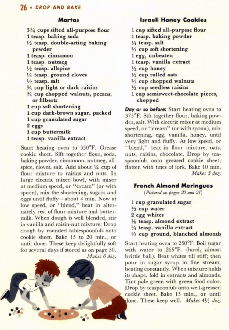 Drop cookie recipes from 1958 (3)