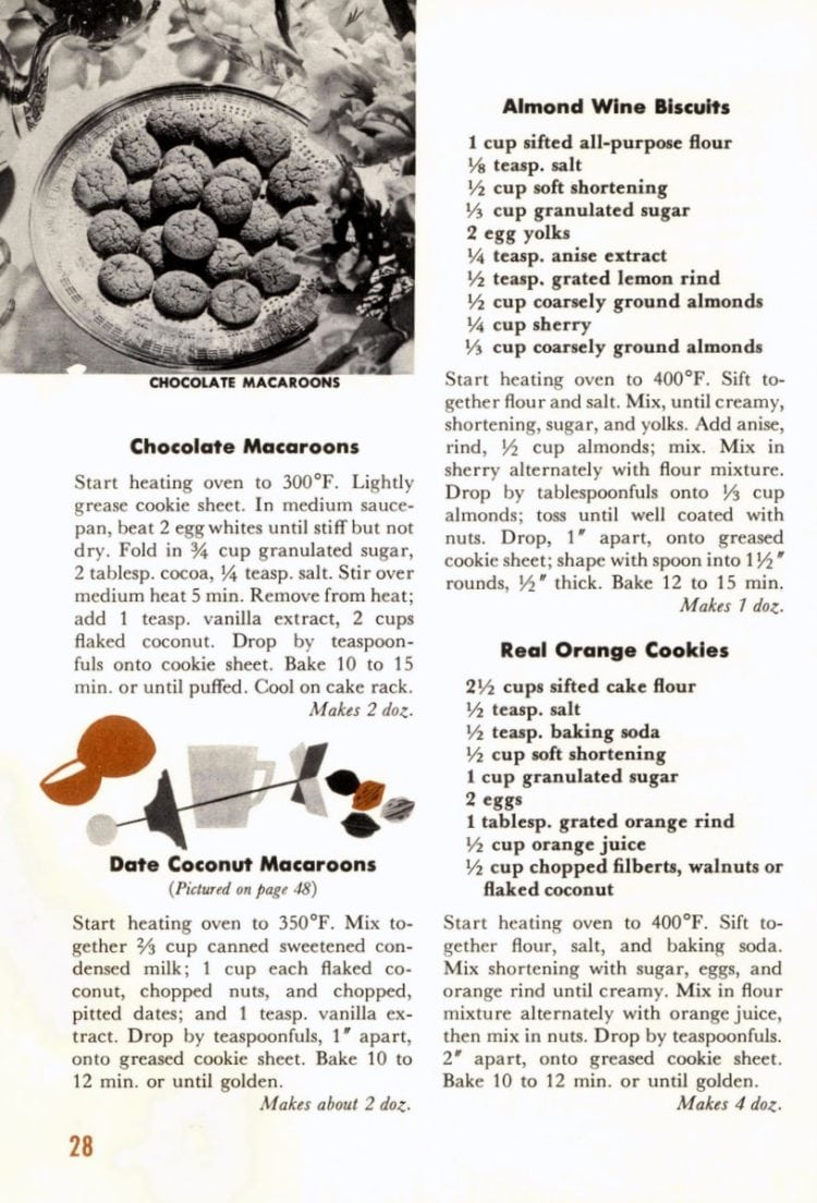 Recipes for Chocolate Macaroons, Date Coconut Macaroons, Almond Wine Biscuits and Real Orange Cookies