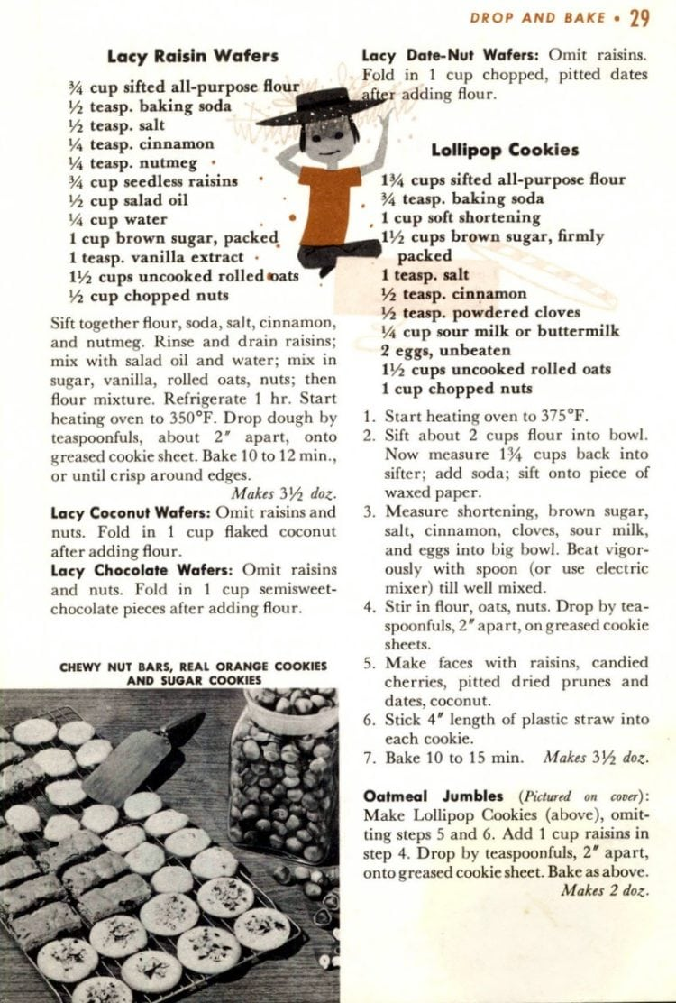 Recipes for Lacy Raisin Wafers, Lollipop Cookies