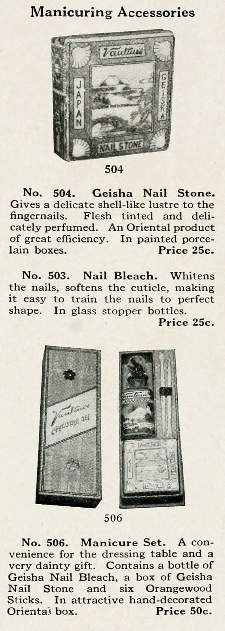 Drugstore products and manicure essentials from 1917