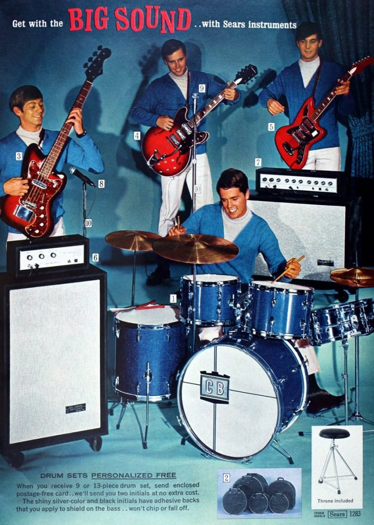 Drum set and guitars in 1968 Sears Wish Book Christmas catalog