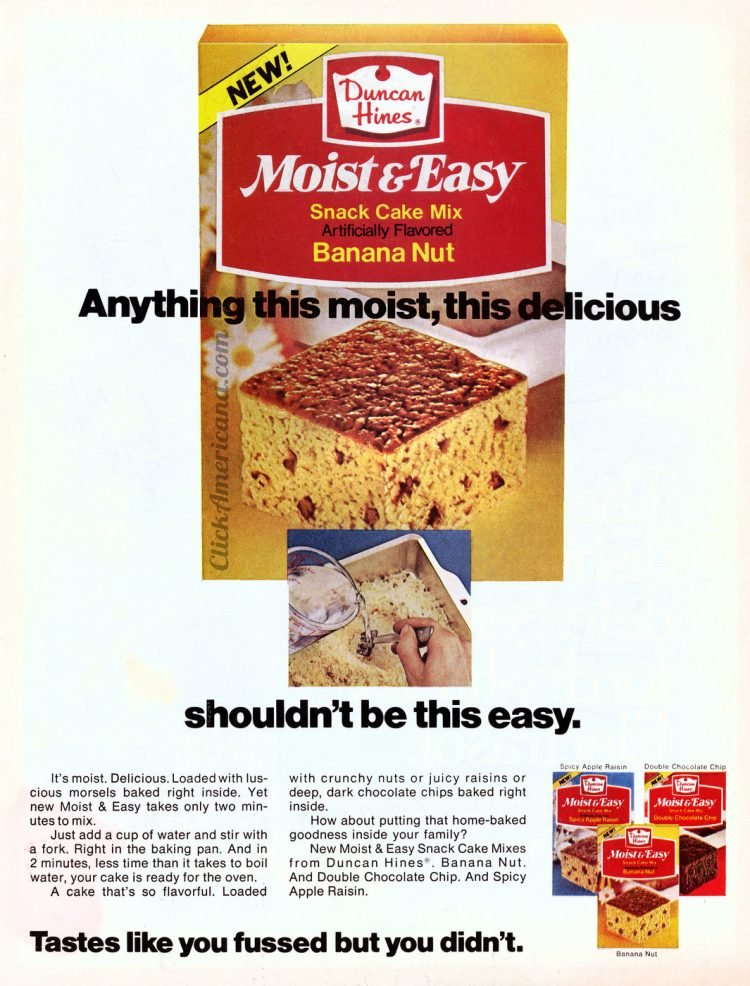 Duncan Hines Moist and Easy snack cake mix (1976)