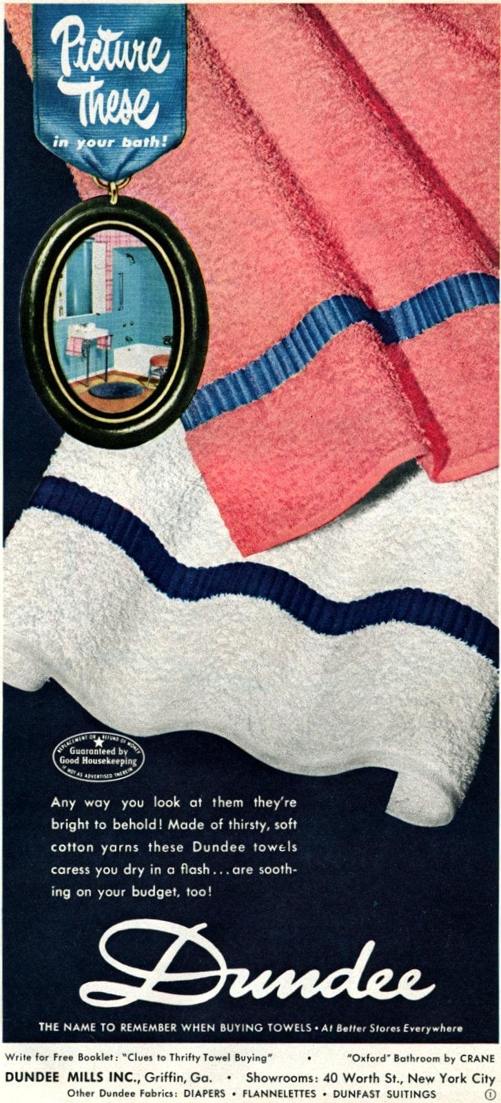 Dundee towels with ribbon design from 1950