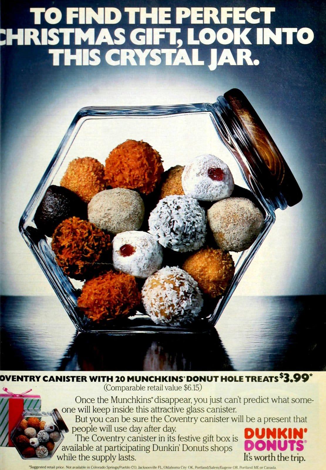 Dunkin' Donuts Munchkins - Christmas crystal jar ad (1985)