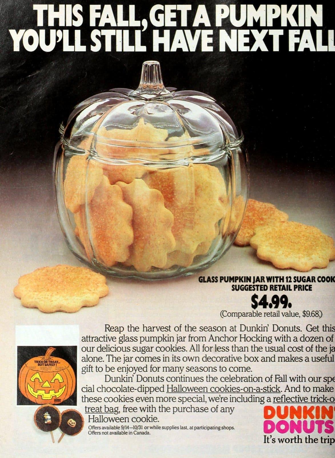 Dunkin' Donuts cookies - Halloween glass pumpkin jar (1986)