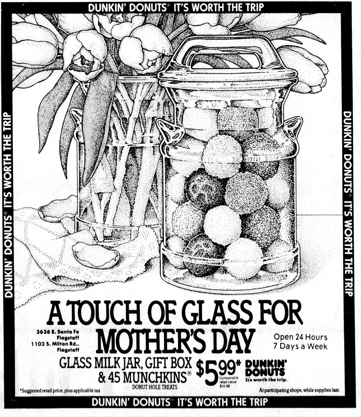 Dunkin Donuts vintage glass milk jar and Munchkins donut holes (1988)