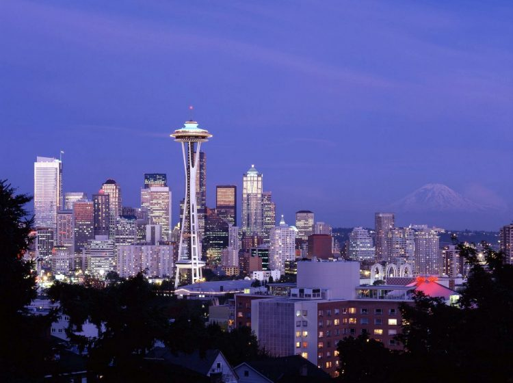 Dusk view of the skyline, Seattle, Washington c1980s by Carol Highsmith