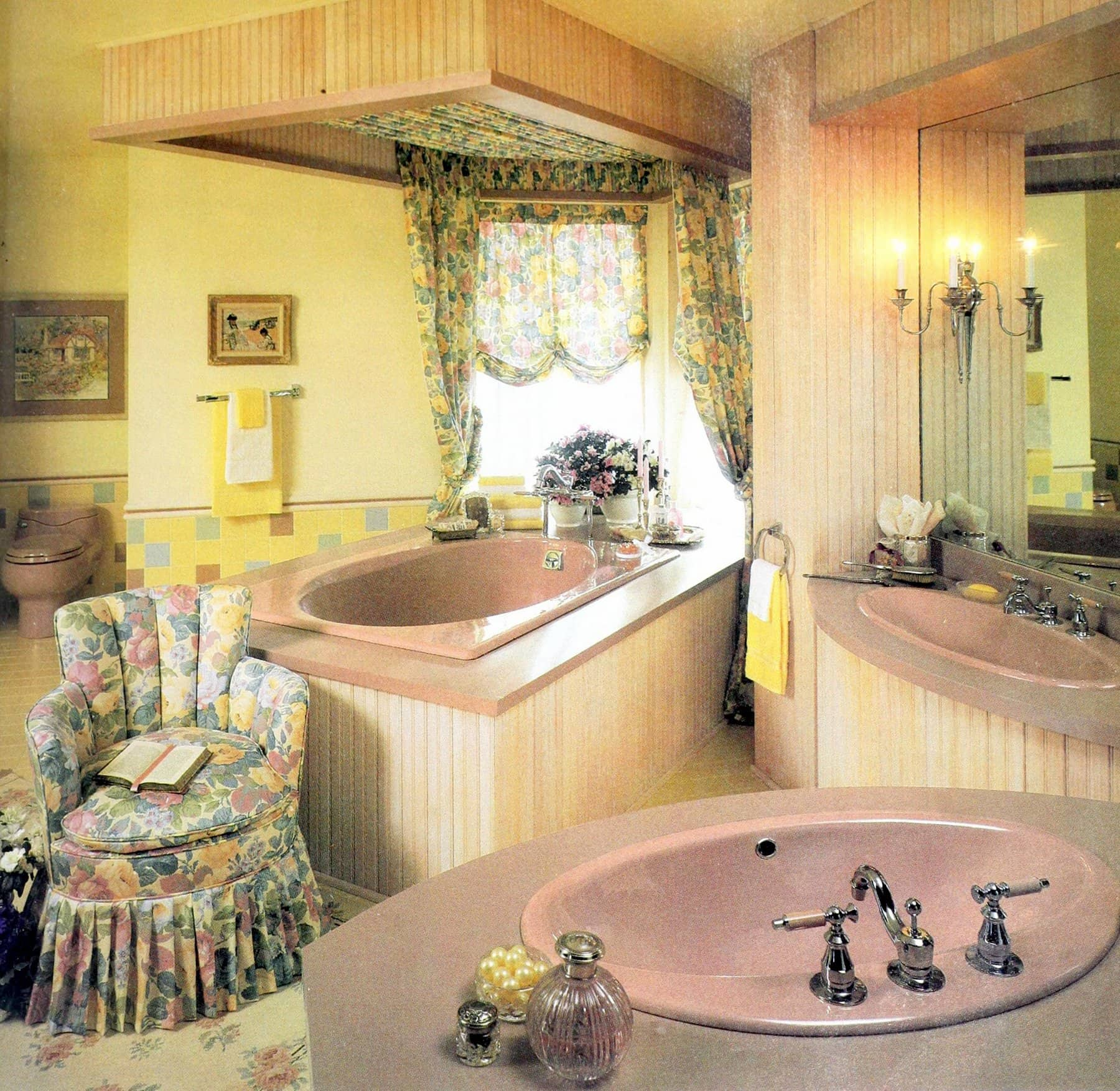 Dusky pink bathroom suite with frilly 80s decor