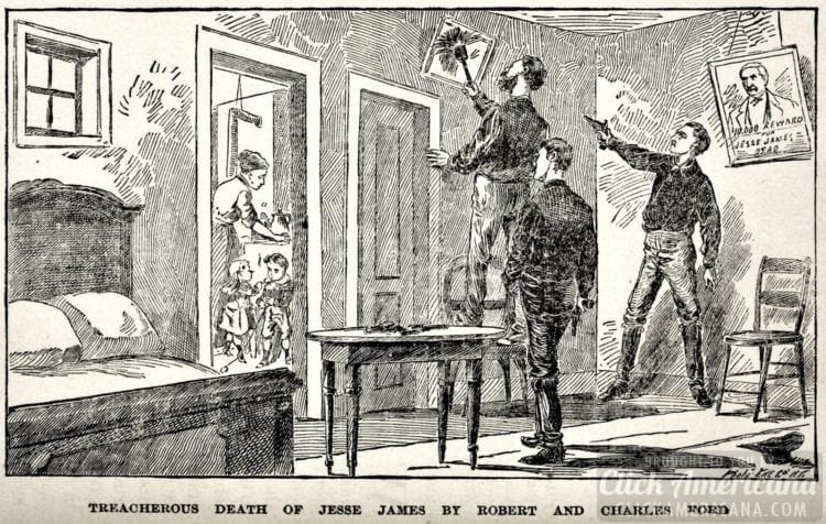 Dusting the picture - Death of Jesse James illustration