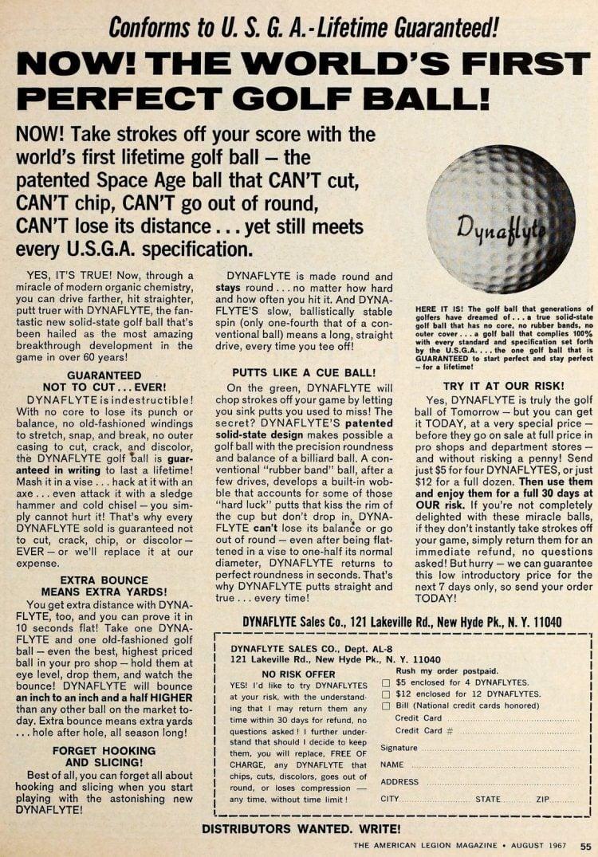 DynaFlite golf ball 1967
