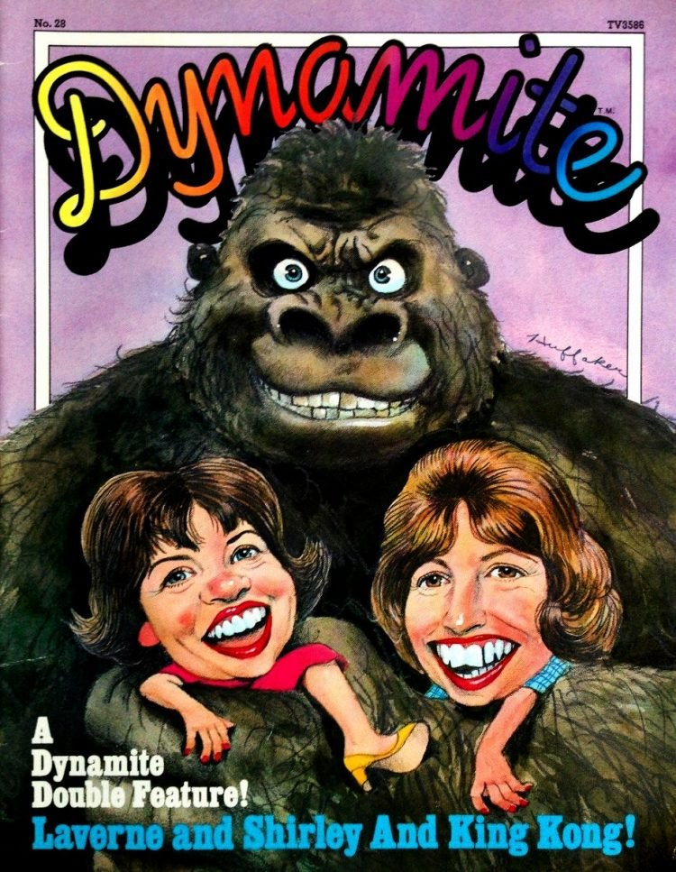 Dynamite magazine cover 1976 Laverne Shirley King Kong