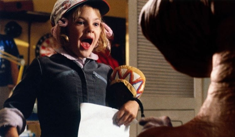 E.T. the Extra-Terrestrial meeting Drew Barrymore