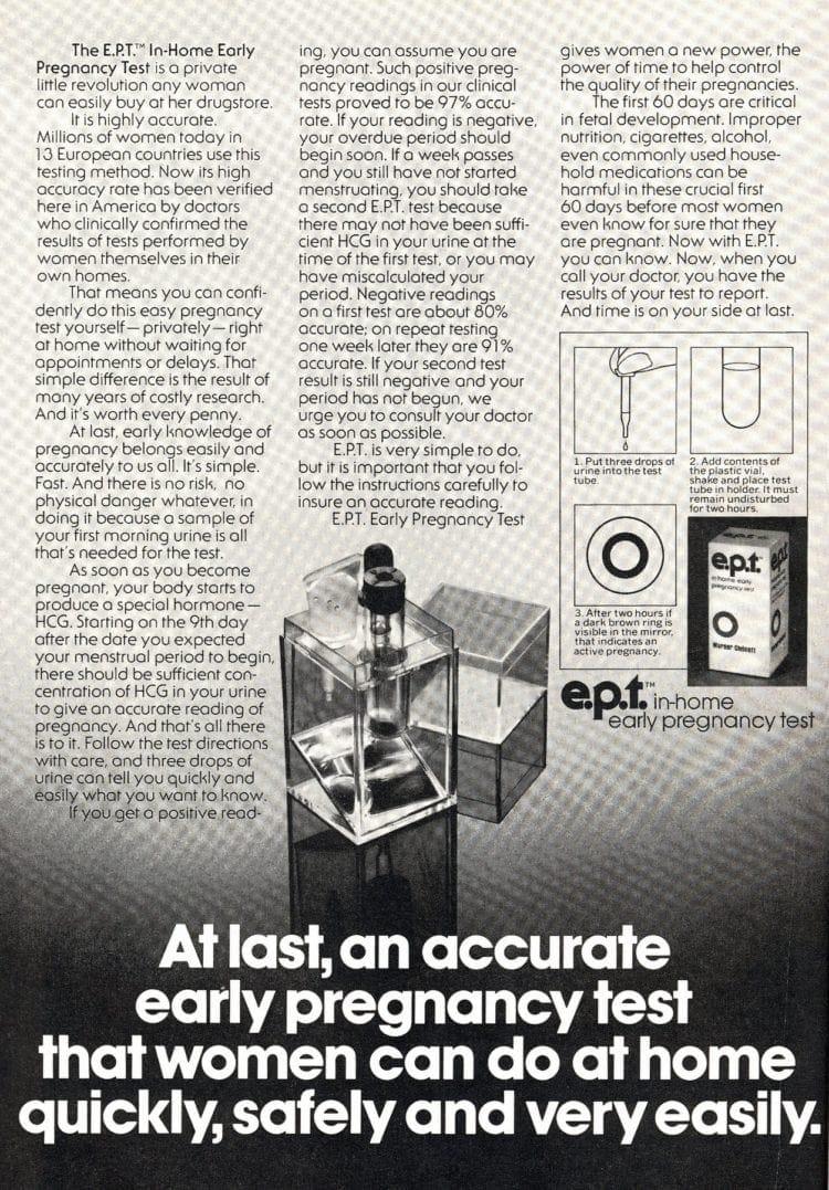 EPT test tube home pregnancy test kit from 1978