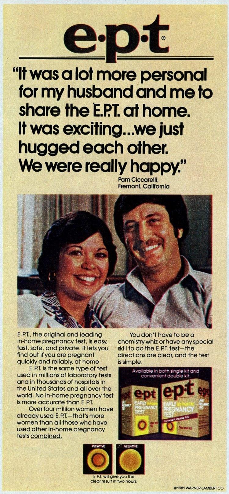 EPT test tube home pregnancy test kit from 1982