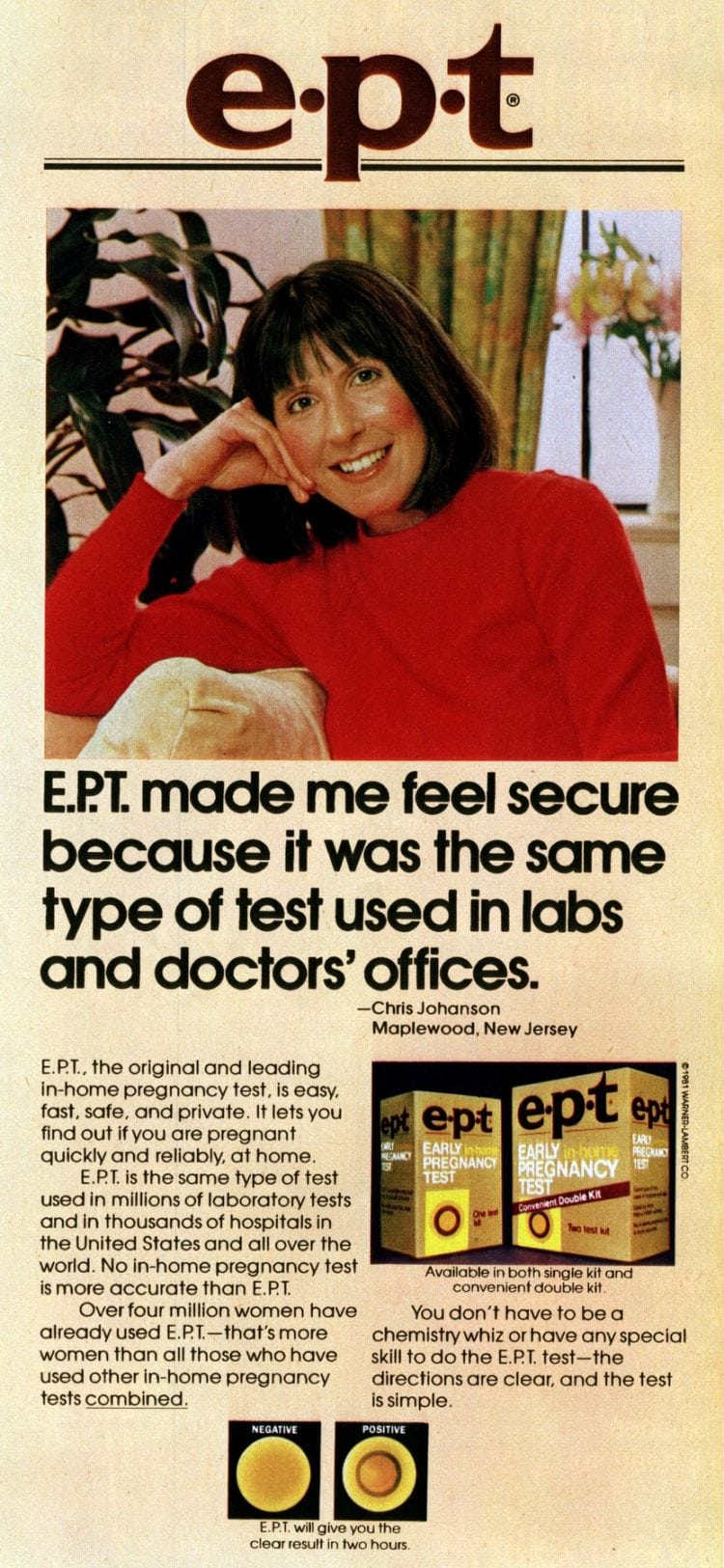 EPT test tube home pregnancy test kits from 1982