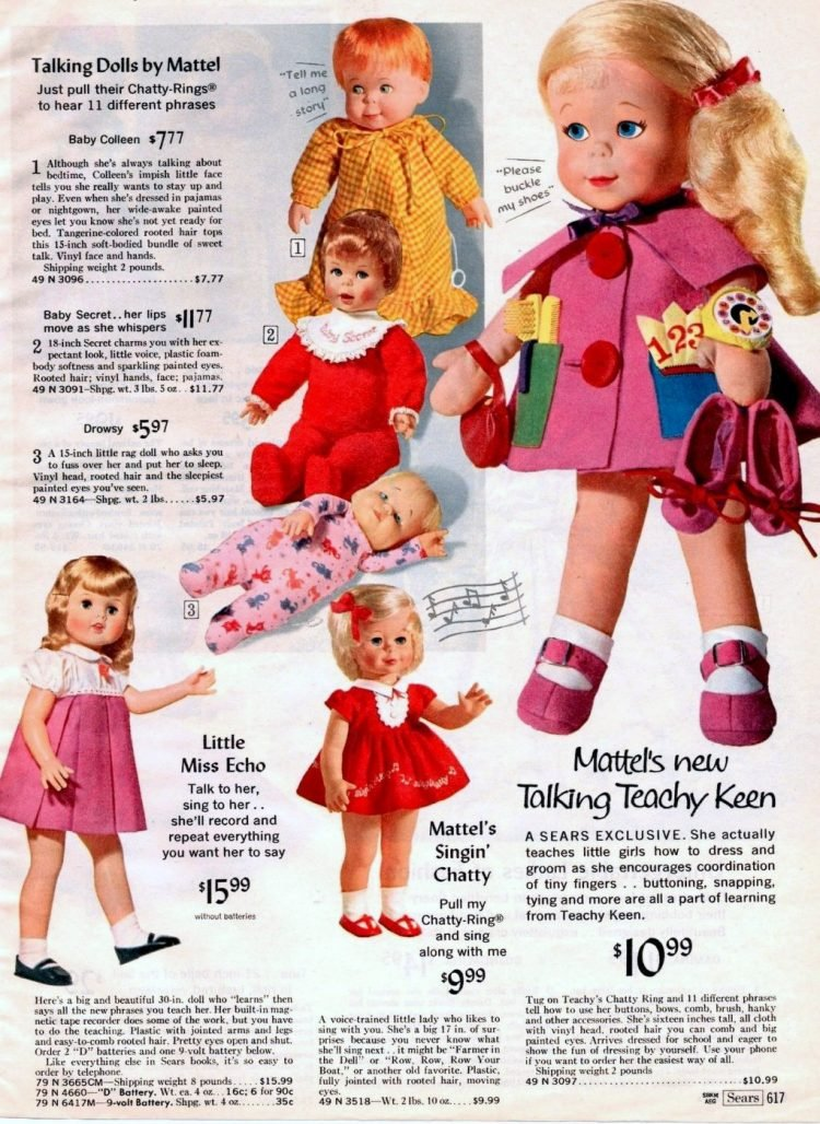 Retro talking doll toys