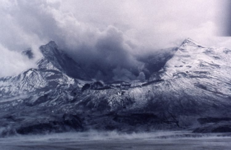 Earliest view of the north side of gutted Mount St Helens with enormous crater