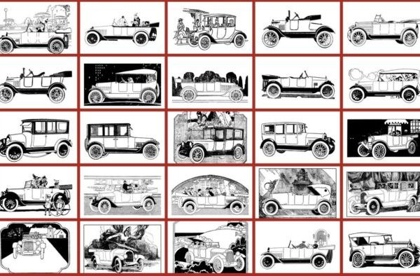 Early American Automobiles - Classic car coloring book thumbnails (1)