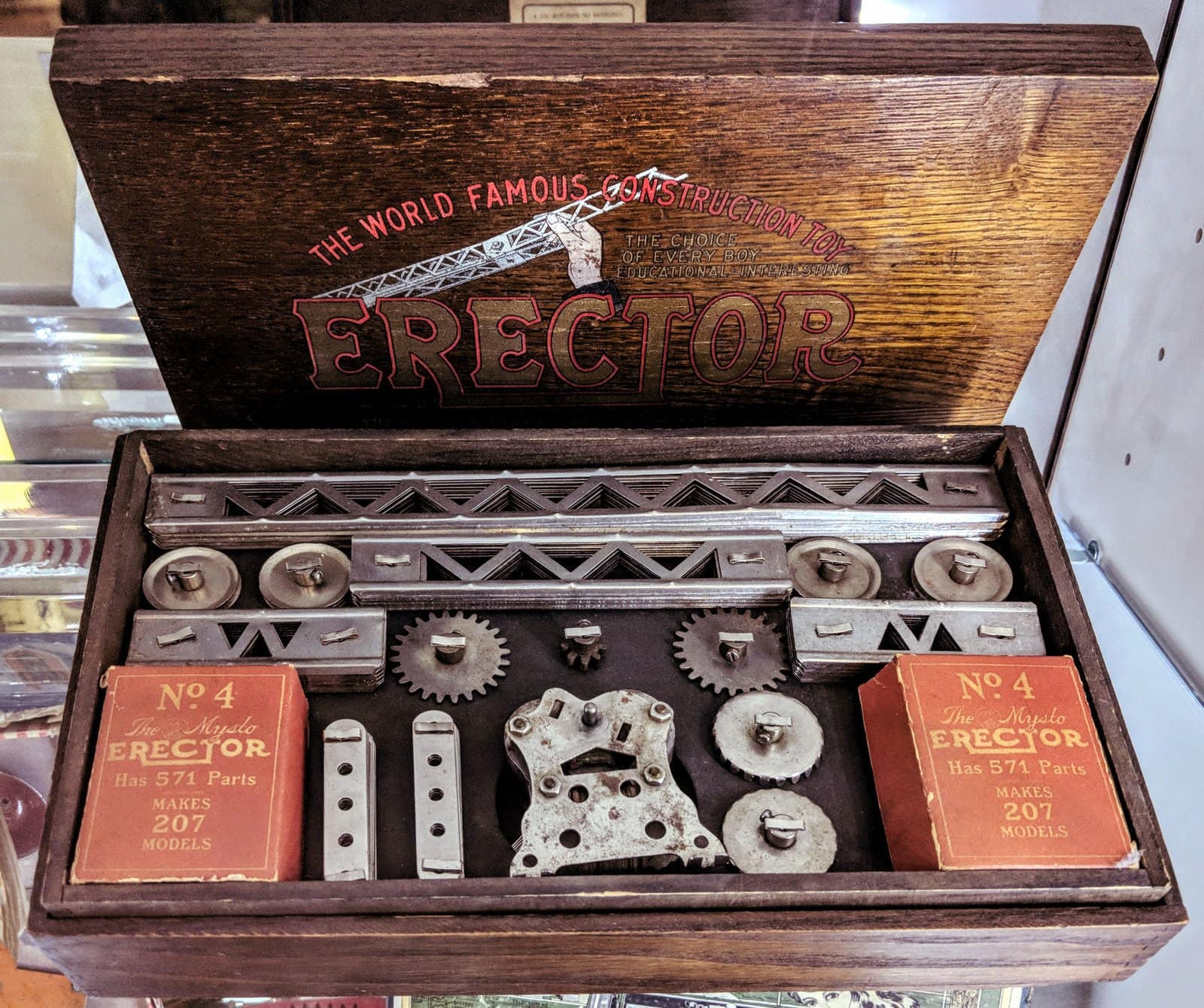 Early Erector Set toy in wooden box