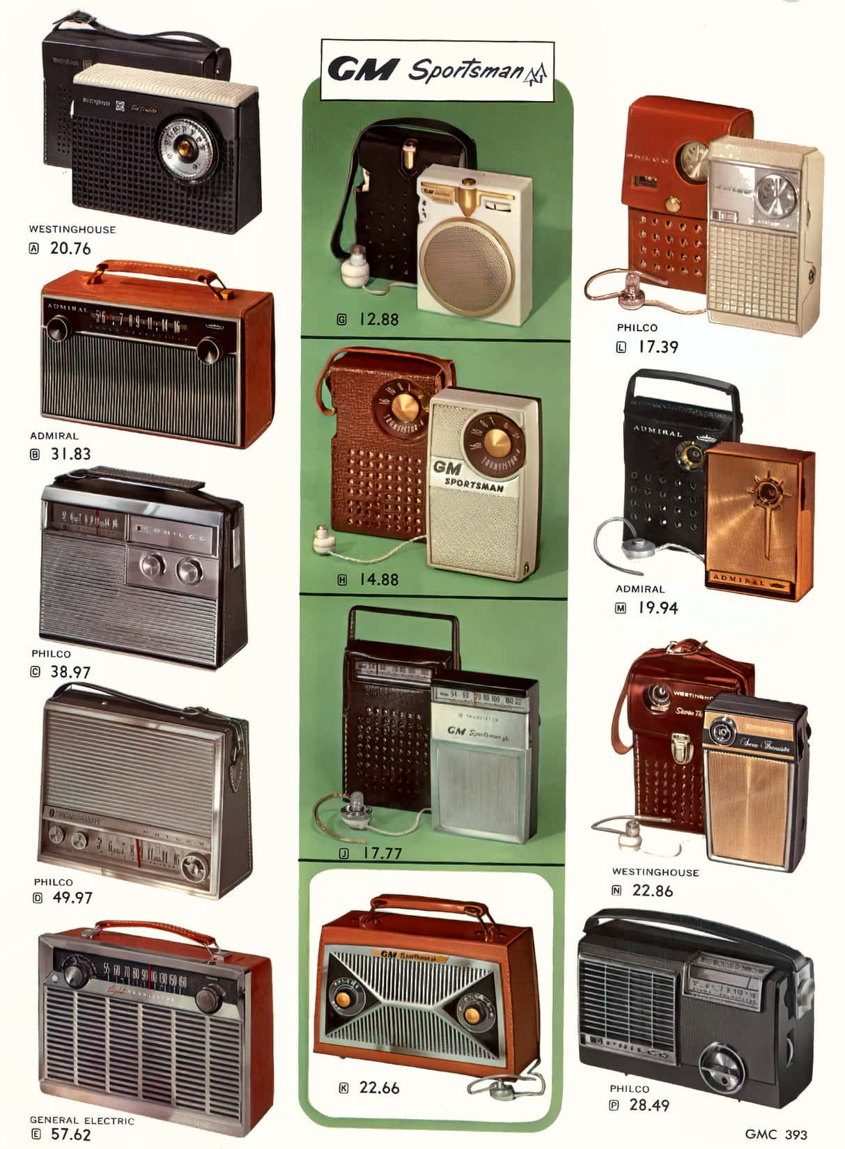 Early vintage portable radios from the 1950s