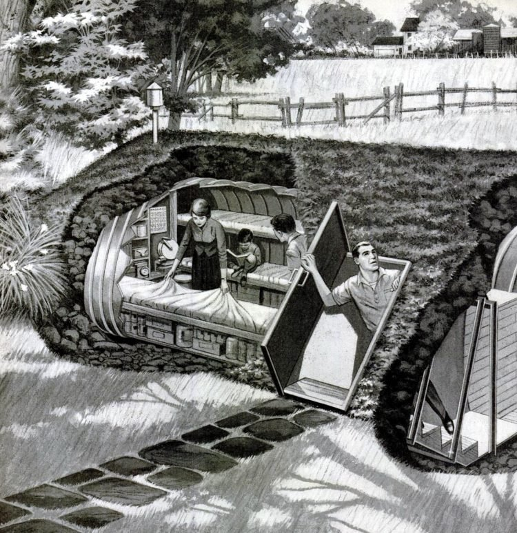 Earth-covered residential rural fallout shelter - 1960s