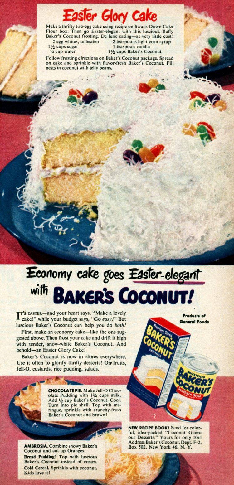 Easter Glory cake with jelly beans & coconut (1950)