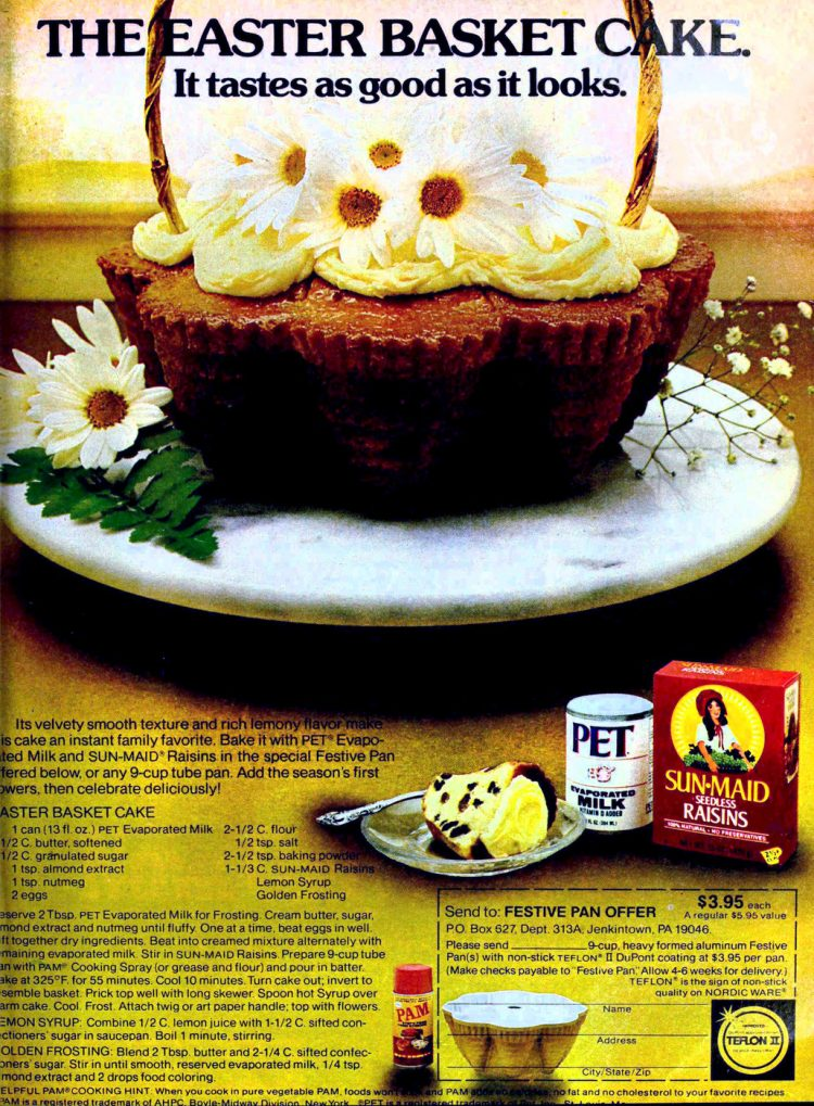 Easter basket cake retro recipe from the 70s