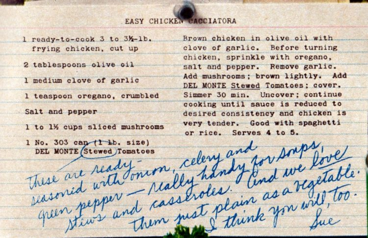 Easy Chicken Cacciatora recipe card from 1962.jpg