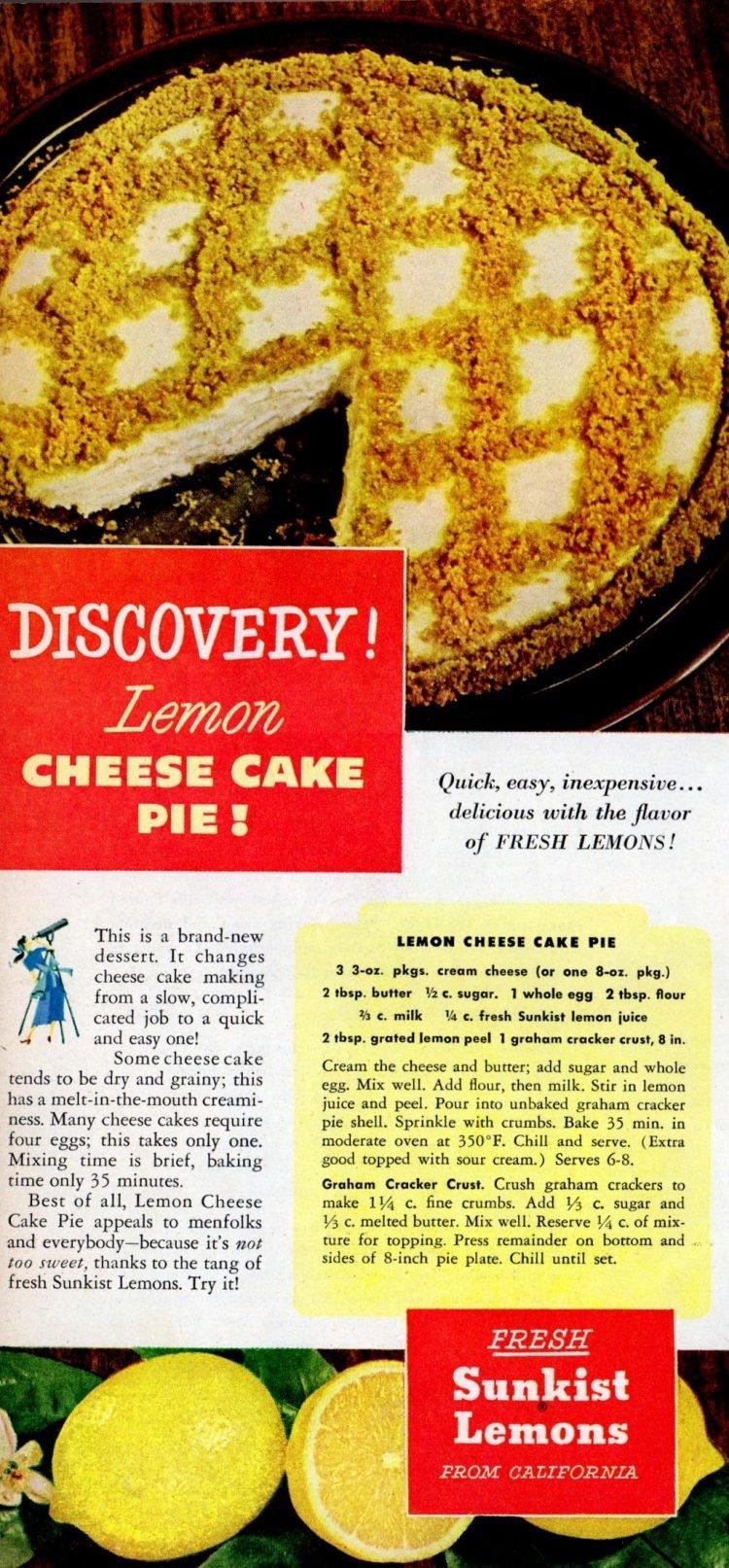 Easy lemon cheesecake pie - A retro recipe from the 1950s