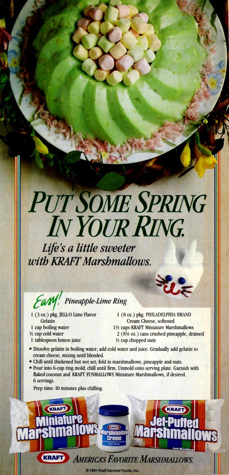 Easy pineapple-lime gelatin ring with marshmallows (1991)