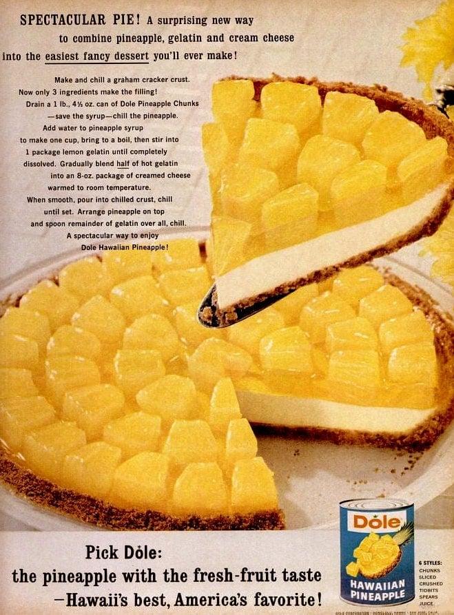 Easy vintage Dole pineapple pie recipe