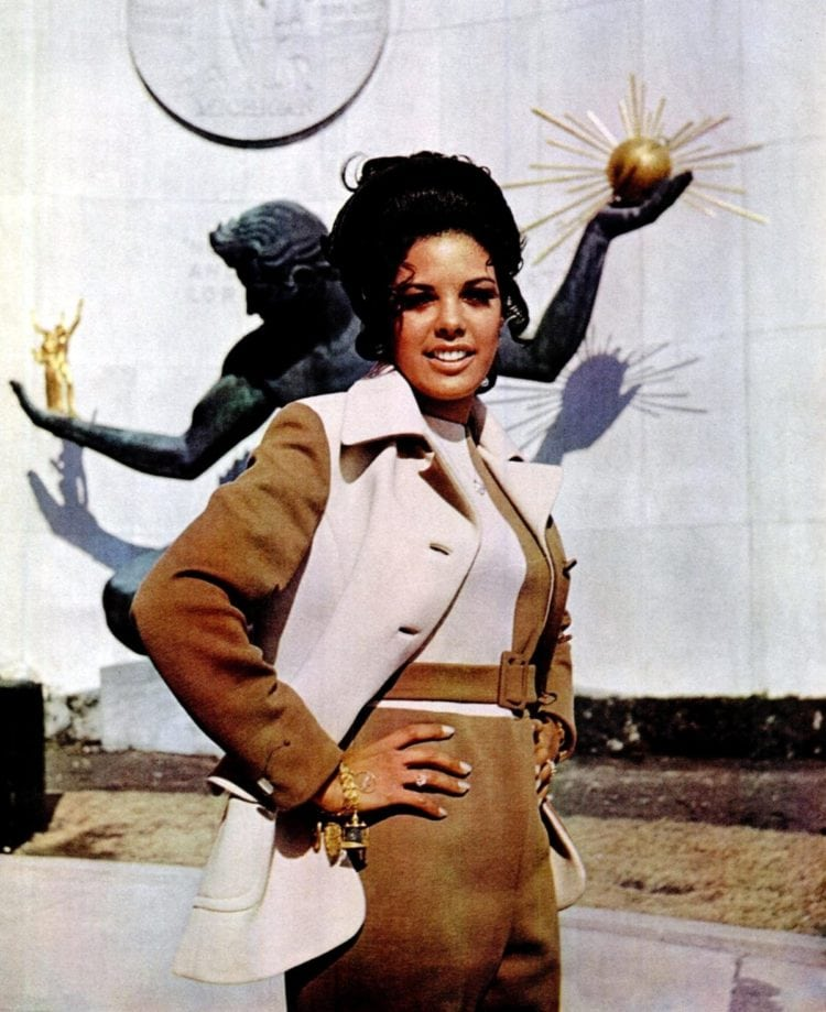 Woman in pantsuit from 1970