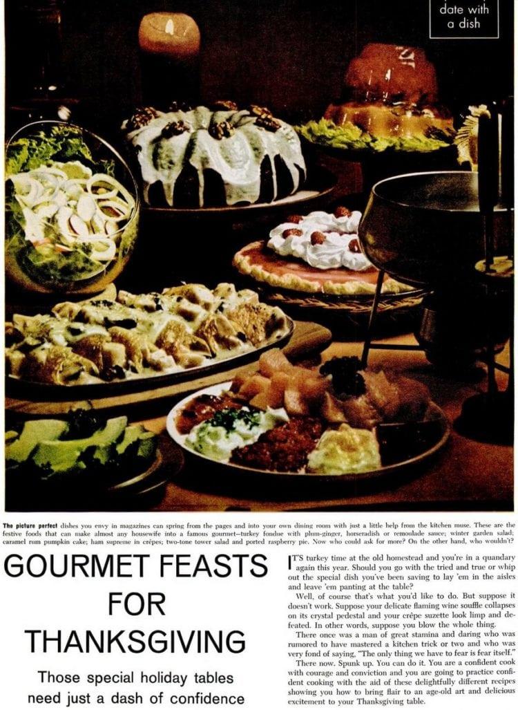 A gourmet Thanksgiving: Ham crepes, Turkey fondue, Caramel Rum Pumpkin cake (1974)