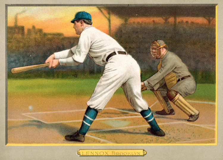 Ed Lennox, Brooklyn Superbas, baseball card portrait