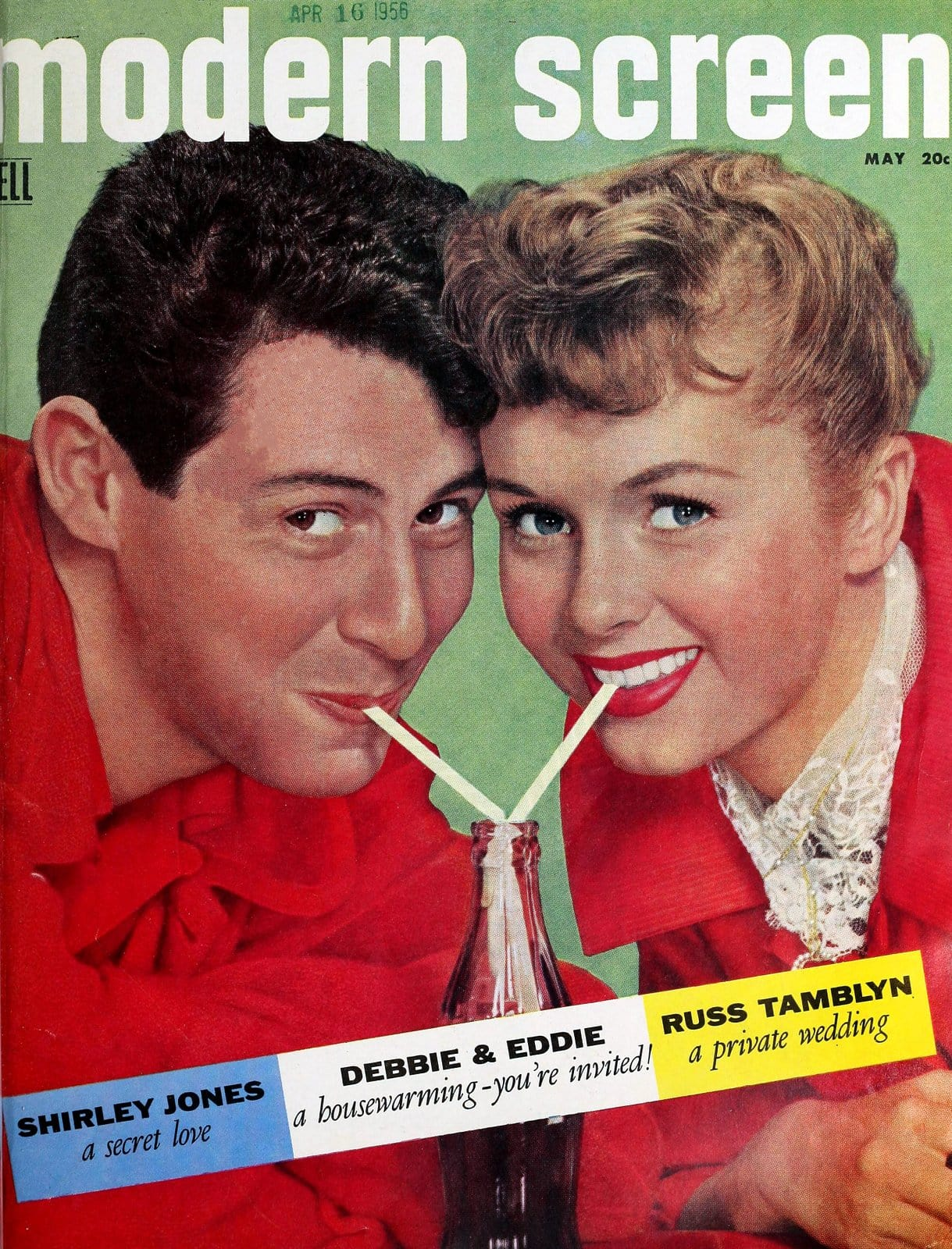 Eddie Fisher and Debbie Reynolds on the cover of Modern Screen magazine - May 1956