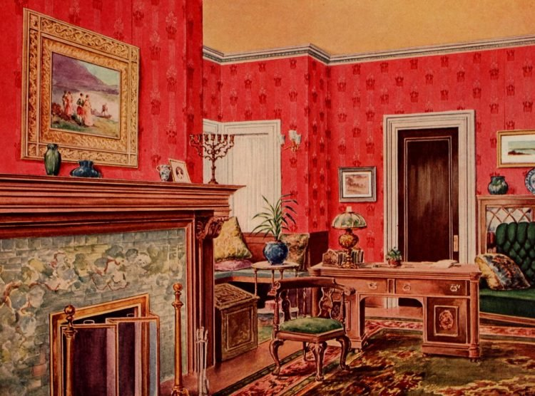 Edwardian home decor ideas with wallpaper and furniture (1)