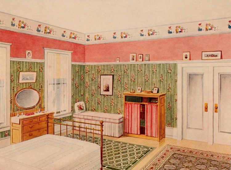 Edwardian home decor ideas with wallpaper and furniture (6)