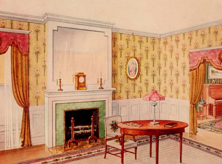 Edwardian home decor ideas with wallpaper and furniture (7)