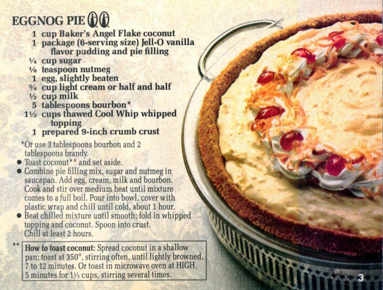Eggnog pie christmas food recipes