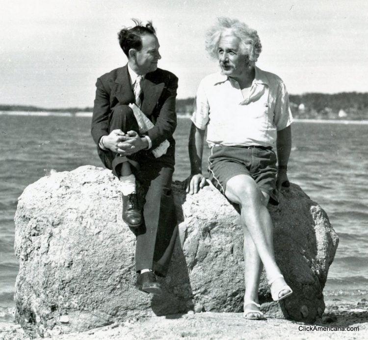 David Rothman & Albert Einstein at the beach in 1939