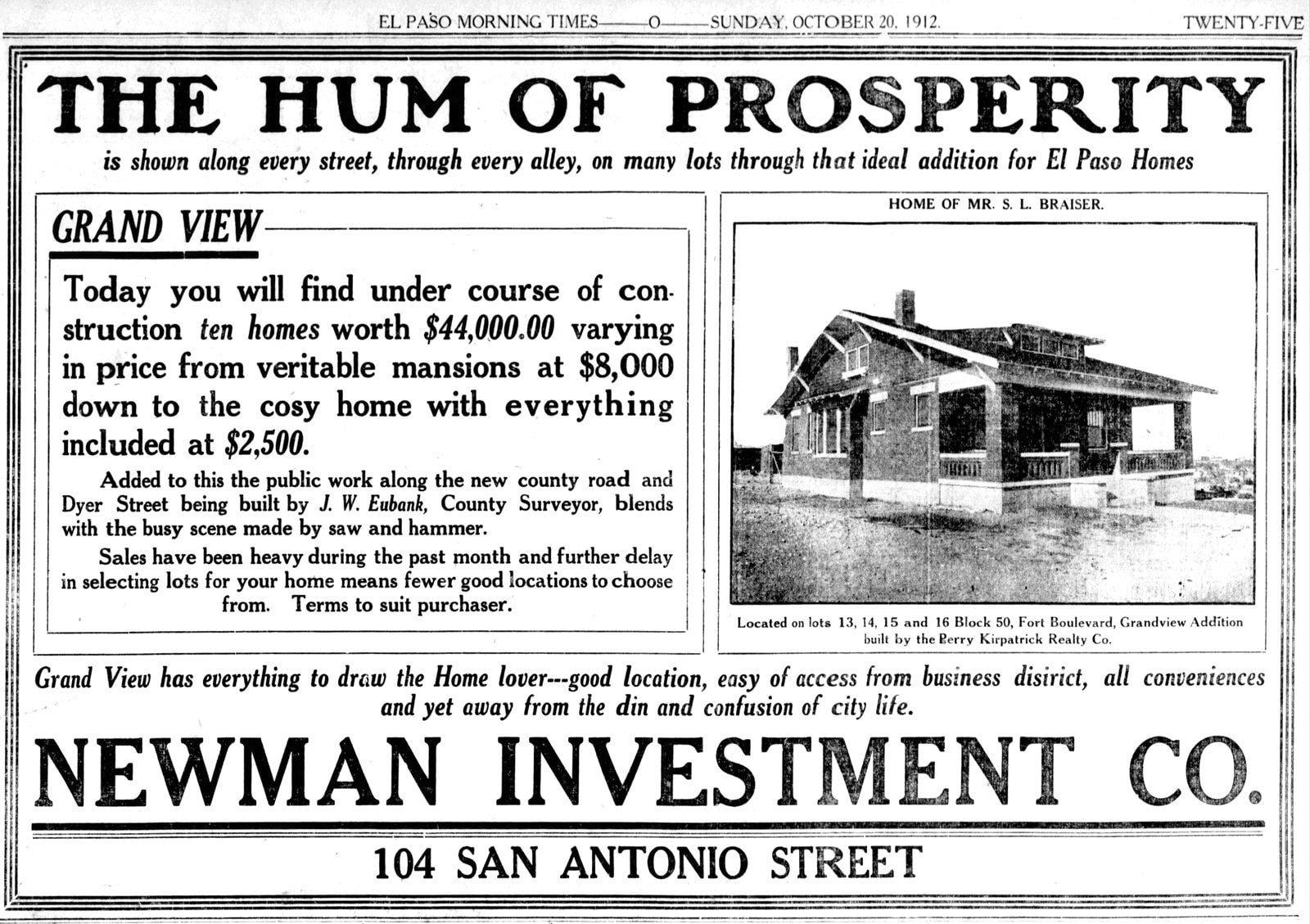 El Paso's Grand View home development - October 20, 1912