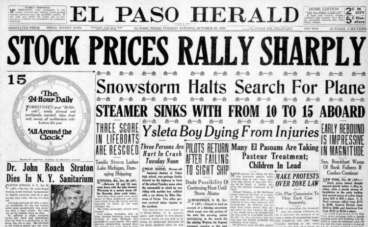 Great Depression Newspaper headlines from 1929 - Stock Prices Rally Sharply