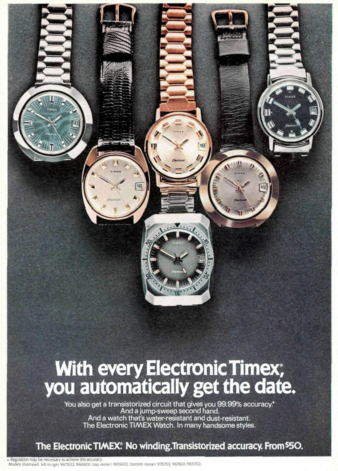 Electronic Timex watches for men - time and date (1972)
