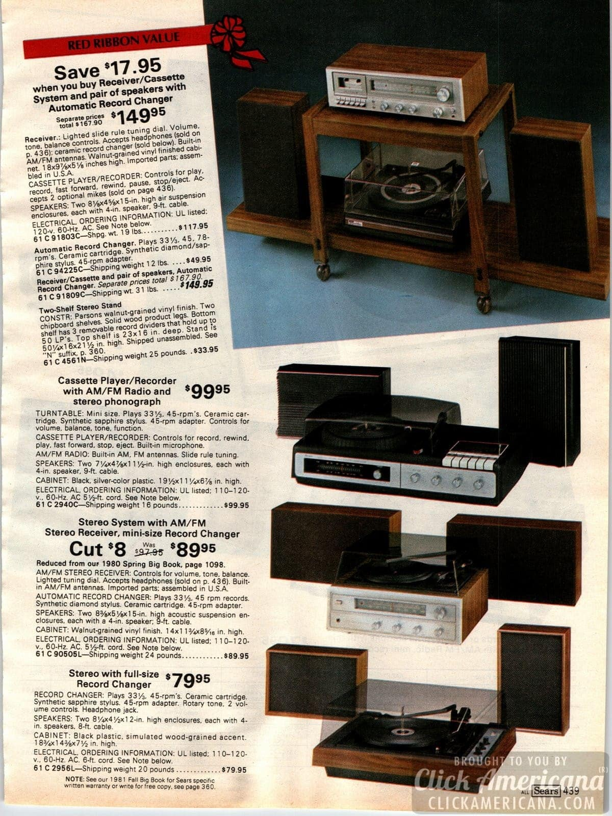 Receiver and cassette audio systems, with speakers and automatic record changers
