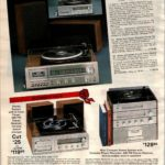 Compact stereo with a record player, radio, cassette & 8-track player/recorder