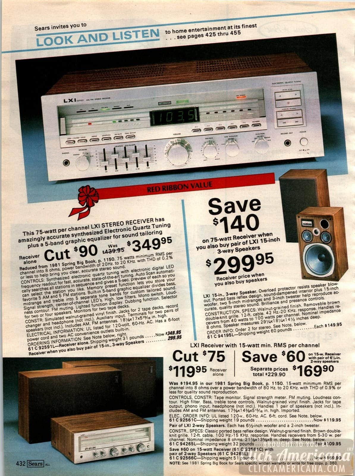 Stereo receivers with electronic quartz tuning, and 3-way speakers for home stereo systems