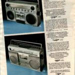 Early '80s boom boxes with radio, cassette and speakers all-in-one